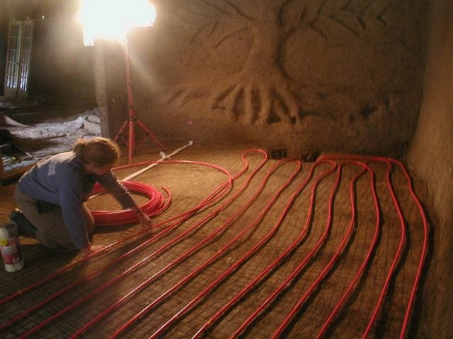 Laying floor heating